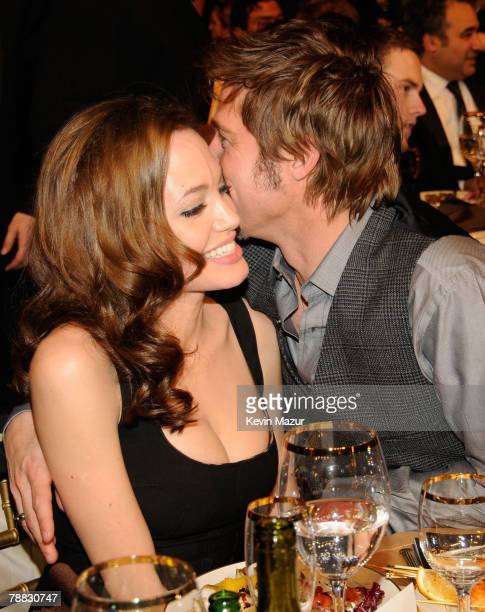 Actors Angelina Jolie and Brad Pitt inside at the 13th ANNUAL CRITICS' CHOICE AWARDS at the Santa Monica Civic Auditorium on January 7, 2008 in Santa...