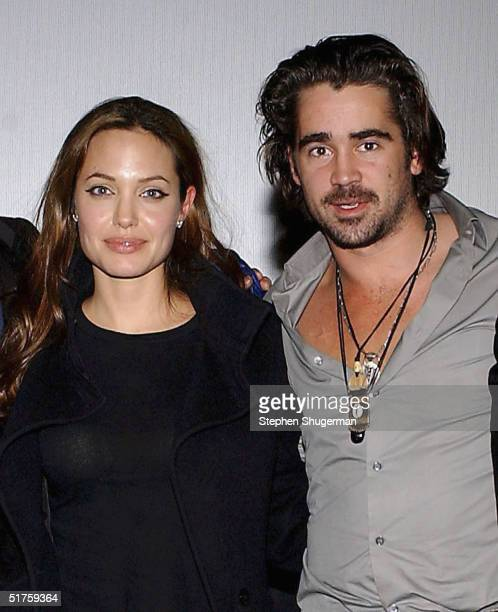 Actors Angelina Jolie and Colin Farrell pose after the Q A which followed the Variety Screening Series 'Alexander' at the ArcLight Theater on...