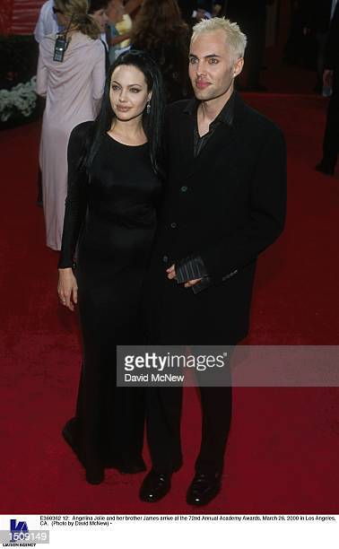 Actors Angelina Jolie and her brother James Haven arrive at the 72nd Annual Academy Awards March 26 2000 in Los Angeles CA