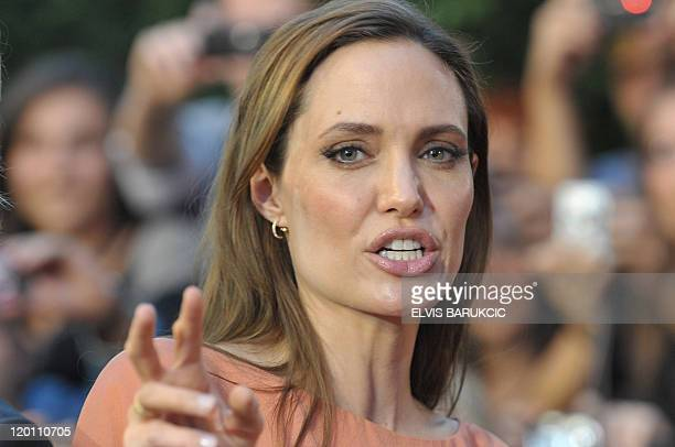 US actors Angelina Jolie arrives on the red carpet before attending the closing ceremony of the 17th Sarajevo Film Festival on July 30 2011 at the...