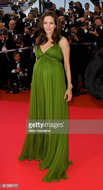 Actors Angelina Jolie attends the 'Kung Fu Panda' premiere at the Palais des Festivals during the 61st Cannes International Film Festival on May 15...