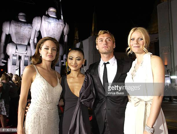 Actors Angelina Jolie Bai Ling Jude Law and Gwyneth Paltrow attend the world premiere of 'Sky Captain And The World of Tomorrow' at the Grauman's...