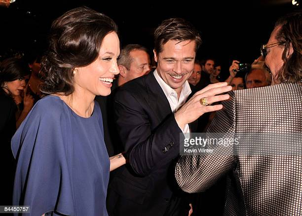 Actors Angelina Jolie, Brad Pitt and Mickey Rourke in the audience at the 15th Annual Screen Actors Guild Awards held at the Shrine Auditorium on...