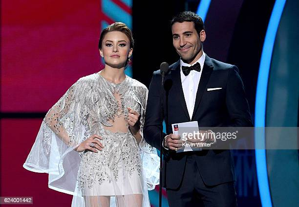 Actors Angelique Boyer and Miguel Angel Silvestre speak onstage during The 17th Annual Latin Grammy Awards at TMobile Arena on November 17 2016 in...