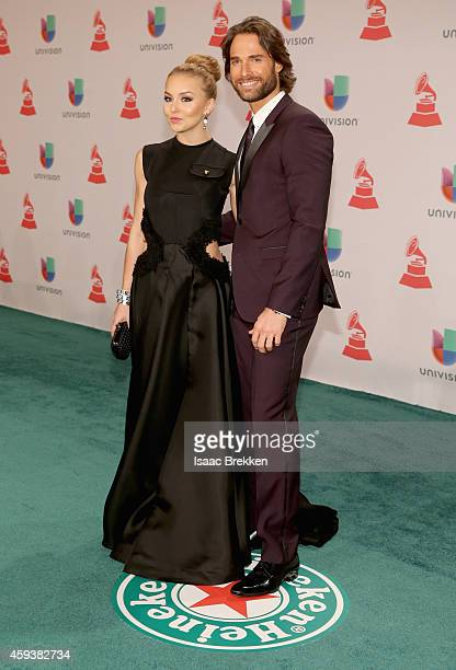 Actors Angelique Boyer and Sebastian Rulli attend the 15th annual Latin GRAMMY Awards at the MGM Grand Garden Arena on November 20 2014 in Las Vegas...