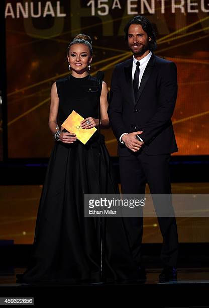 Actors Angelique Boyer and Sebastian Rulli speak onstage during the 15th Annual Latin GRAMMY Awards at the MGM Grand Garden Arena on November 20 2014...