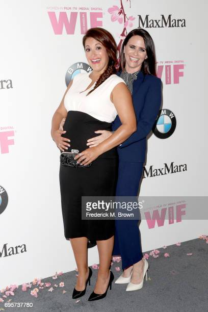Actors Angelique Cabral and Amy Landecker attend the Women In Film 2017 Crystal Lucy Awards presented By Max Mara and BMW at The Beverly Hilton Hotel...