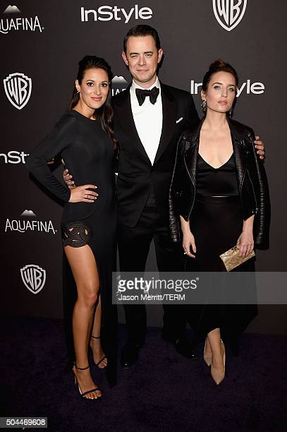 Actors Angelique Cabral Colin Hanks and Zoe ListerJones attend The 2016 InStyle And Warner Bros 73rd Annual Golden Globe Awards PostParty at The...