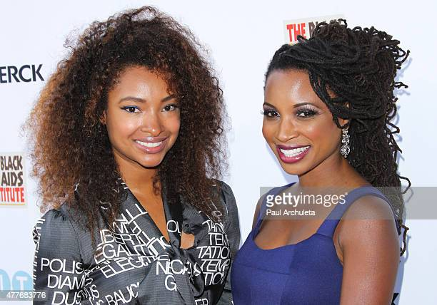 Actors Angelique Cinelu and Shanola Hampton attend the Black AIDS Institutes 2015 Heroes In The Struggle gala reception and awards ceremony at The...