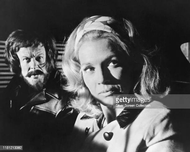 Actors Angie Dickinson as Joanne Taylor and a disguised Robert Culp as Ben Taylor in the TV movie 'See the Man Run' 1971