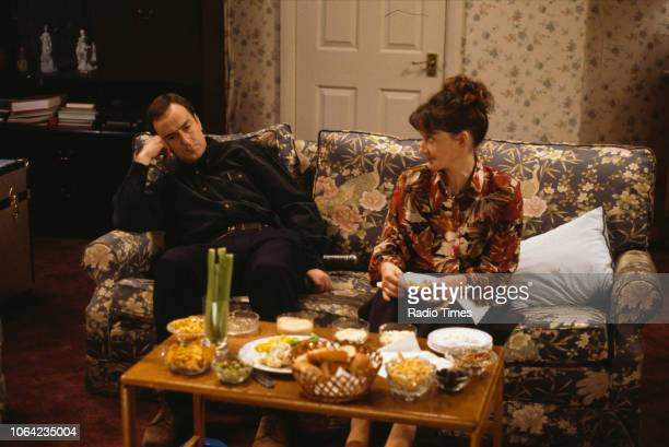 Actors Angus Deayton and Janine Duvitski in a scene from episode 'Secret of the Seven Sorcerers' of the BBC Television sitcom 'One Foot in the Grave'...