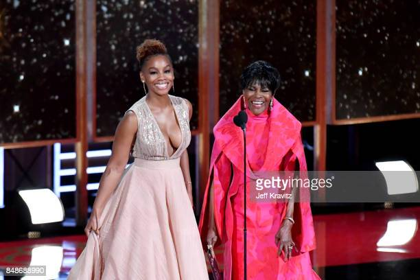 Actors Anika Noni Rose and Cicely Tyson speak onstage during the 69th Annual Primetime Emmy Awards at Microsoft Theater on September 17 2017 in Los...
