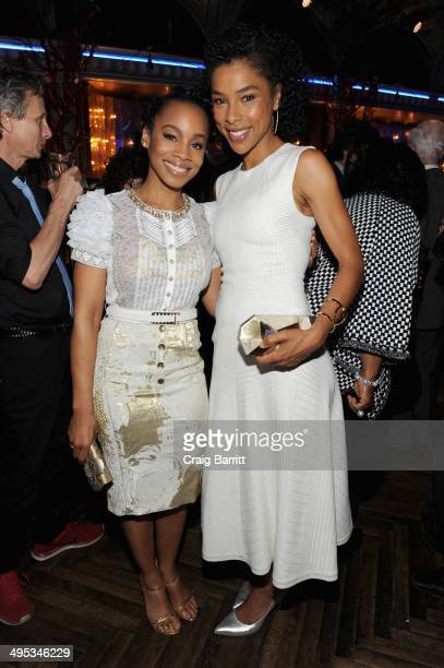 Actors Anika Noni Rose and Sophie Okonedo attend the 2014 Tony Honors Cocktail Party at the Paramount Hotel on June 2 2014 in New York City