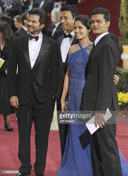 Actors Anil Kapoor, Irrfan Khan, Freida Pinto, and Madhur Mittal arrives at the 81st Annual Academy Awards held at The Kodak Theatre on February 22,...