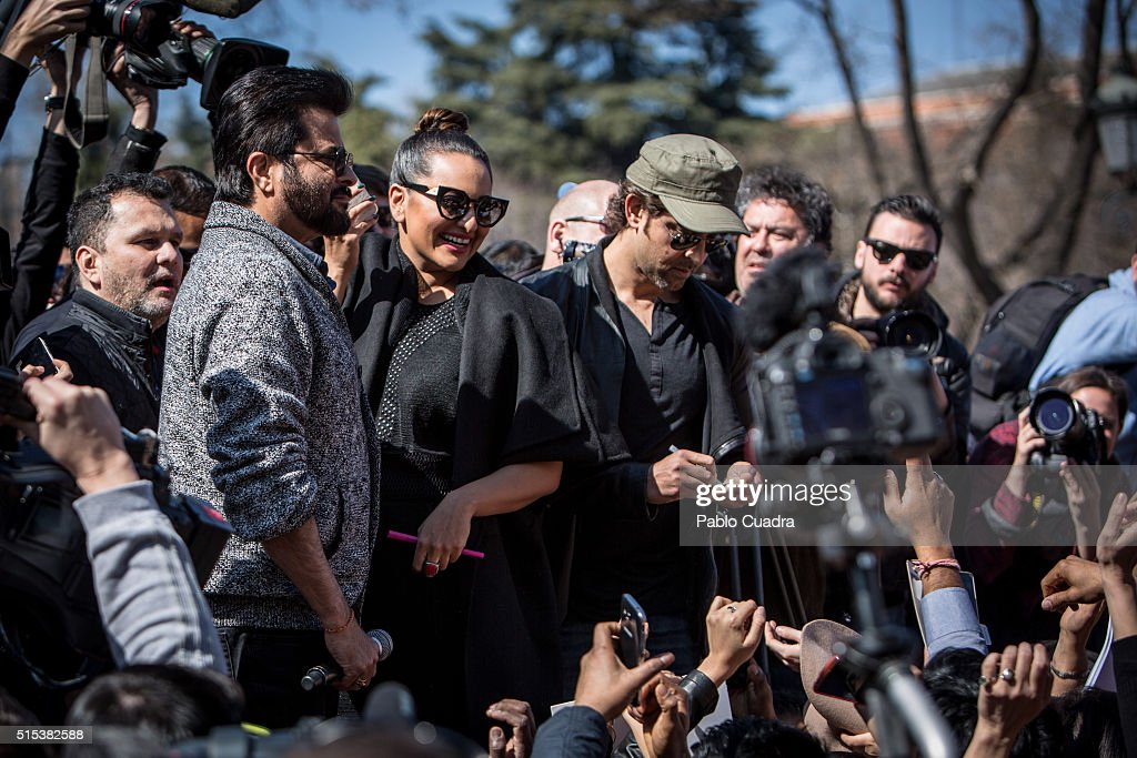 Actors Anil Kapoor Sonakshi Sinha and Hrithik Roshan attend a Flashmob Bollywood dance on March 13 2016 in Madrid Spain