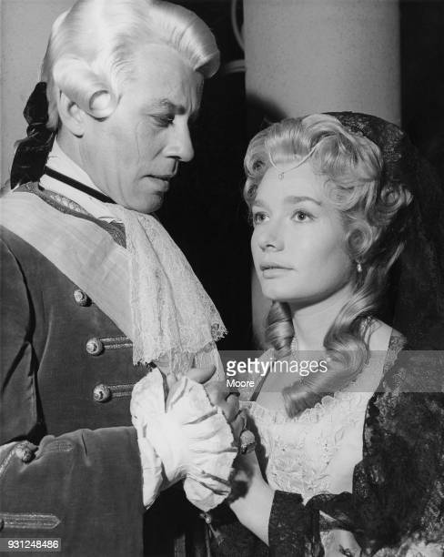Actors Ann Bell and John Carson in period costume during the filming of the BBC Sunday-Night Play 'The Pretender' at Ealing Studios, London, 9th...