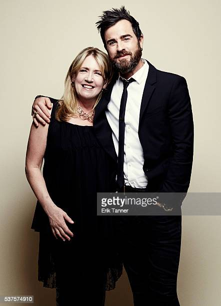 Actors Ann Dowd and Justin Theroux pose for a portrait at the 75th Annual Peabody Awards Ceremony at Cipriani Wall Street on May 21 2016 in New York...