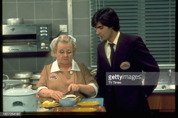 Actors Ann George and Mark Colleano in character as Amy Turtle and Simon Whitaker in television soap Crossroads, circa 1975.