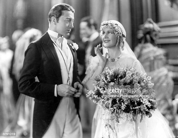 Actors Ann Harding and Clive Brook perform the wedding scene in the film 'East Lynne' Title East Lynne Studio TCF Director Frank Lloyd