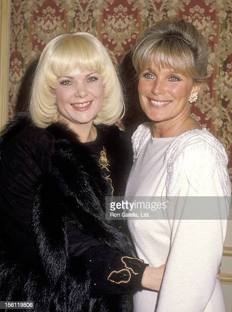 Actors Ann Jillian and Linda Evans attend a 'Dinner Tribute to Bud Grant' on December 13 1985 at Beverly Wilshire Hotel in Beverly Hills California