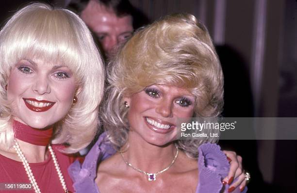 Actors Ann Jillian and Loni Anderson attend the 'USO Distinguished American Award Honoring Dolores Hope' on February 21 1983 at Beverly Hilton Hotel...