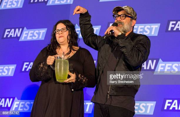 Actors Ann Mahoney and Jeffrey Dean Morgan during the Walker Stalker Con Chicago at the Donald E. Stephens Convention Center on March 26, 2017 in...