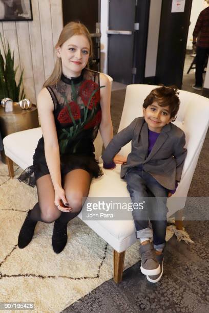 Actors Anna Baryshnikov and Parker Sevak from 'The Kindergarten Teacher' attend The Hollywood Reporter 2018 Sundance Studio at Sky Strada Park City...