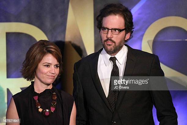 Actors Anna Belknap and Silas Weir Mitchell speak during the 17th Annual Prism Awards at Beverly Hills Hotel on April 25 2013 in Beverly Hills...