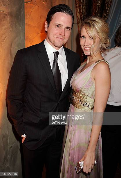 Actors Anna Camp and Michael Mosley attend the HBO post SAG awards party at Spago on January 23 2010 in Beverly Hills California