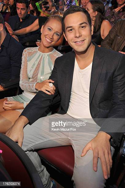 Actors Anna Camp and Skylar Astin attend the 2013 Teen Choice Awards at Gibson Amphitheatre on August 11 2013 in Universal City California