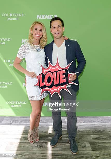 Actors Anna Camp and Skylar Astin judge Pitch Perfectesque competition in Toronto for the NXNE festival at Yonge Dundas Square on June 16 2016 in...