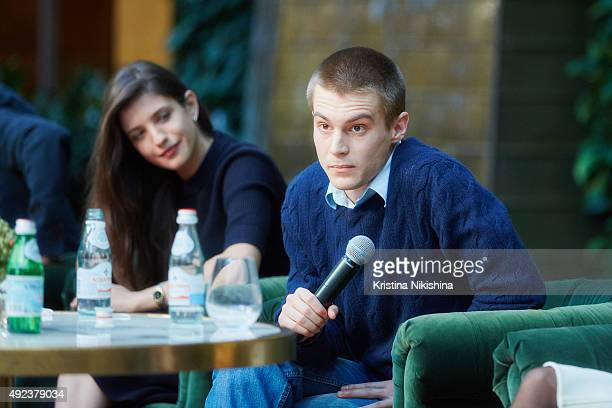 Actors Anna Chipovskaya and Ivan Yankovsky attend a press conference for Without Borders at Moskva cinema hall on October 12 2015 in Moscow Russia