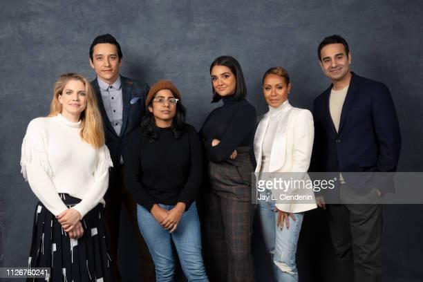 Actors Anna Clumsky Gabriel Luna writer/director Minhal Baig Geraldine Viswanathan Jada Pinkett Smith and Azad Khan from 'Hala' are photographed for...
