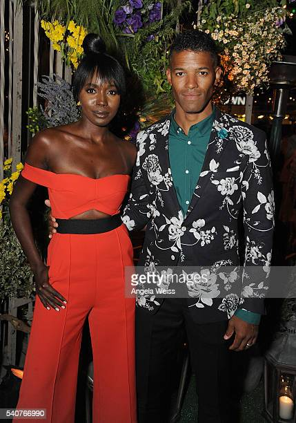 Actors Anna Diop and Benjamin Patterson attend the premiere after party of OWN's 'Greenleaf' at The Lot on June 15 2016 in West Hollywood California