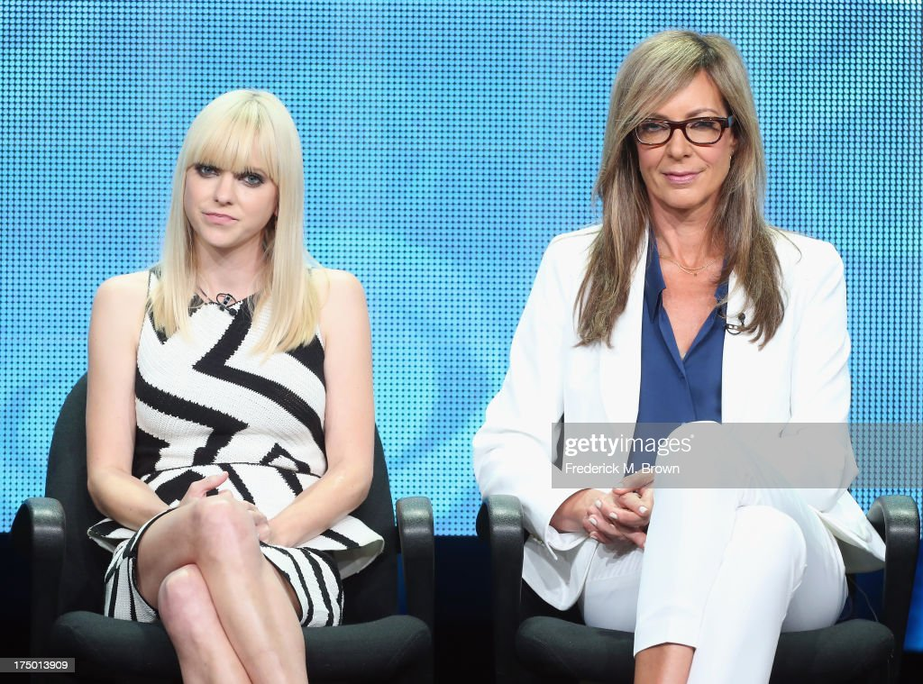 Actors Anna Faris and Allison Janney speak onstage during the 'Mom' panel discussion at the CBS, Showtime and The CW portion of the 2013 Summer Television Critics Association tour at the Beverly Hilton Hotel on July 29, 2013 in Beverly Hills, California.