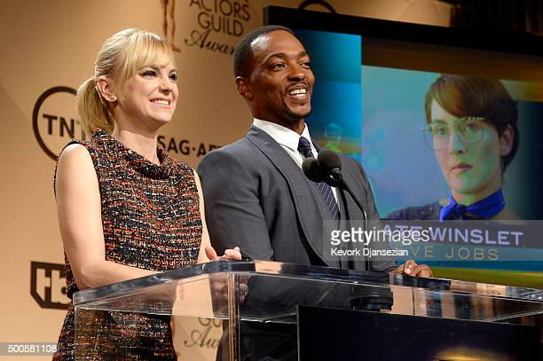 Actors Anna Faris and Anthony Mackie speak onstage during the 22nd Annual Screen Actors Guild Awards Nominations Announcement at SilverScreen Theater...