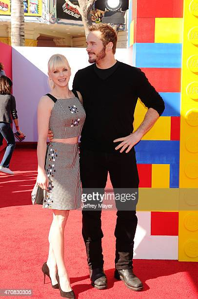 Actors Anna Faris and Chris Pratt arrive at the Los Angeles premiere of 'The Lego Movie' held at Regency Village Theatre on February 1 2014 in...