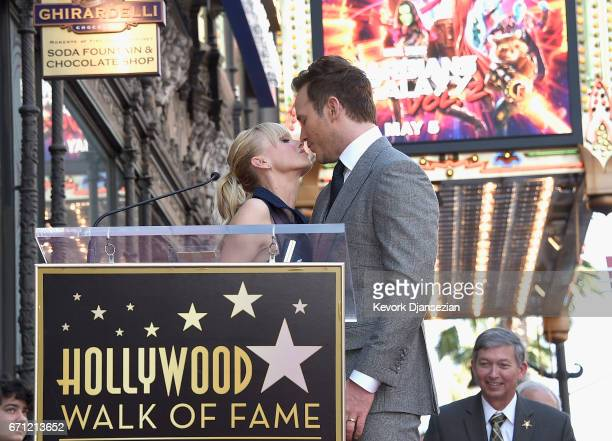 Actors Anna Faris and Chris Pratt at Chris Pratt Honored With Star On The Hollywood Walk Of Fame on April 21 2017 in Hollywood California