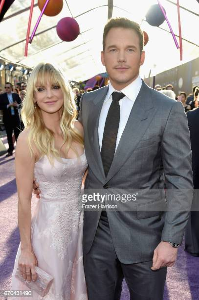 Actors Anna Faris and Chris Pratt at the premiere of Disney and Marvel's Guardians Of The Galaxy Vol 2 at Dolby Theatre on April 19 2017 in Hollywood...