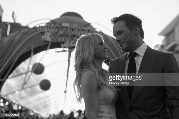"Actors Anna Faris and Chris Pratt at The World Premiere of Marvel Studios' ""Guardians of the Galaxy Vol 2"" at Dolby Theatre in Hollywood CA April..."