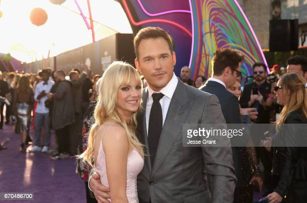"""Actors Anna Faris and Chris Pratt at The World Premiere of Marvel Studios' """"Guardians of the Galaxy Vol. 2."""" at Dolby Theatre in Hollywood, CA April..."""