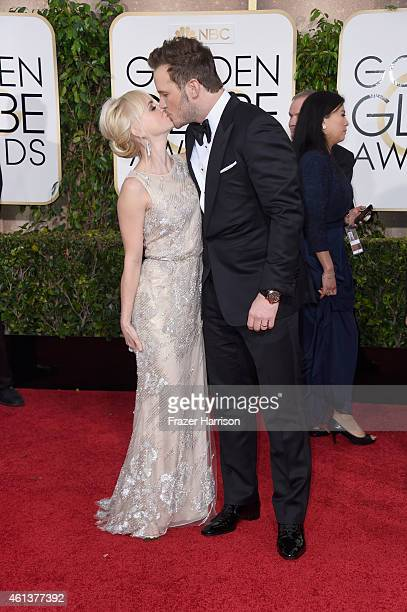 Actors Anna Faris and Chris Pratt attend the 72nd Annual Golden Globe Awards at The Beverly Hilton Hotel on January 11 2015 in Beverly Hills...