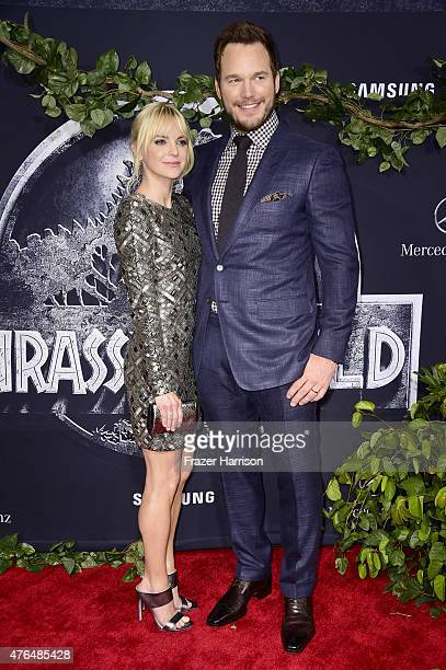 Actors Anna Faris and Chris Pratt attend the Universal Pictures' 'Jurassic World' premiere at Dolby Theatre on June 9 2015 in Hollywood California