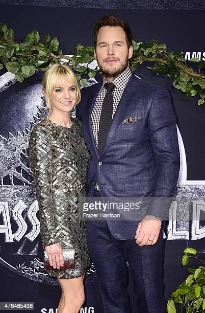 Actors Anna Faris and Chris Pratt attend the Universal Pictures' Jurassic World premiere at Dolby Theatre on June 9 2015 in Hollywood California