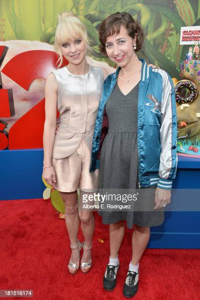 "Actors Anna Faris and Kristen Schaal arrive to the premiere of Columbia Pictures and Sony Pictures Animation's ""Cloudy With A Chance of Meatballs 2""..."
