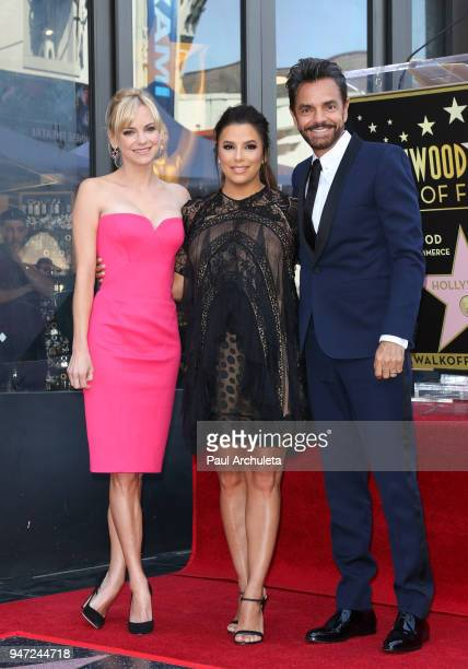 Actors Anna Faris Eva Longoria and Eugenio Derbez attend the ceremony to honor Eva Longoria with a Star on The Hollywood Walk Of Fame on April 16...