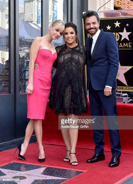 Actors Anna Faris Eva Longoria and Eugenio Derbez attend the ceremony honoring Eva Longoria with star on the Hollywood Walk of Fame on April 16 2018...
