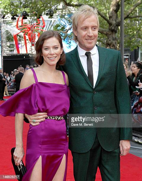 Actors Anna Friel and Rhys Ifans arrive at the UK Premiere of 'The Amazing SpiderMan' at Odeon Leicester Square on June 18 2012 in London England