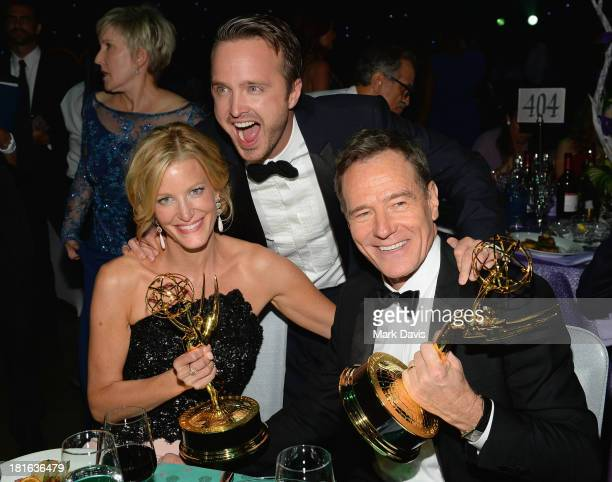 Actors Anna Gunn, Aaron Paul, and Bryan Cranston attend the Governors Ball during the 65th Annual Primetime Emmy Awards at Nokia Theatre L.A. Live on...