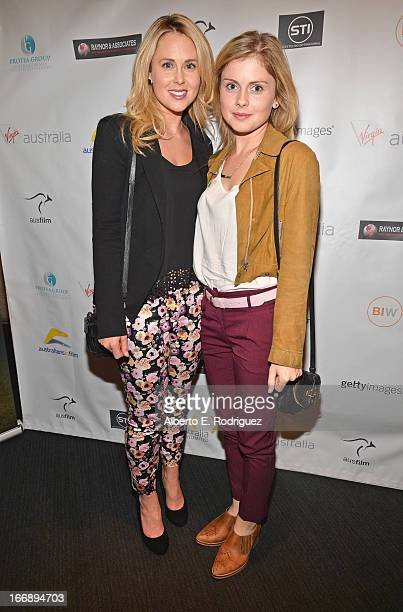 Actors Anna Hutchison and Rose McIver attend Australians In Film's screening of Revival Film Company's Blinder at Los Angeles Film School on April 17...